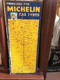 Vintage Enamel Michelin Tyre Pressure Chart 20 00