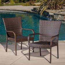 multi brown stackable wicker outdoor dining chairs set of 2