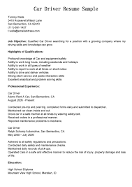 Car Driver Cover Letter Resume Template Downloads Free The Perfect