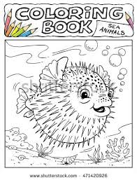 Small Picture Porcupine Fish Coloring Book Pages Sea Stock Vector 471420926