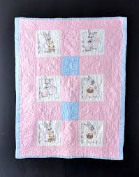 32 best embroidered baby quilts images on Pinterest | Patterns ... & Vintage Baby Quilt Embroidered Bunnies Pink and Blue Adamdwight.com
