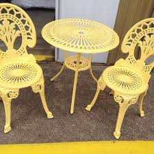 yellow patio furniture. Yellow Outdoor Patio Furniture- 3 Piece Metal Bistro Set Furniture R