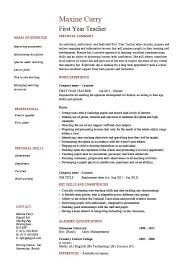 Teacher Resume Best First Year Teacher Resume School Sample Example Templates Job