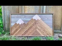 wooden mosaic mountain wall art diy