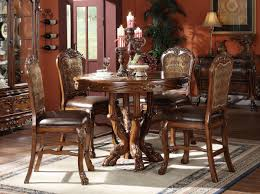 Pedestal Dining Table Set Acme Dresden 5 Pc Round Counter Height Dining Table Set In Brown