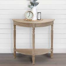 reclaimed wood half round console table