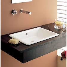bathroom sink scarabeo 8032 rectangular white ceramic drop in or vessel sink