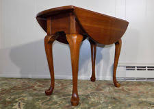pennsylvania house solid cherry drop leaf end table oval queen anne legs l