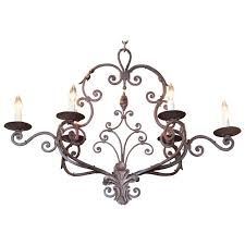early 20th century french six light verdigris iron chandelier with fleur de lys
