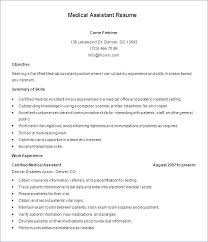 Resume Objectives For Medical Assistant Medical Assistant Resume