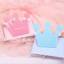 Folded Birthday Card Us 13 65 9 Off 20pcs Little Prince Or Princess Crown Shape Folded Greeting Card Baby Shower Thank Card Birthday Holiday Cards Invitation Cards In