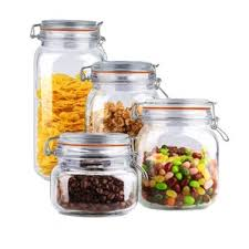 Wayfair Basics 4 Piece Clamp Lid Glass Kitchen Canister Set