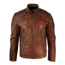 men s biker vintage motorcycle brown cafe racer leather jacket with skull new