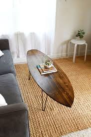living room surf board coffee table interior furniture long decorations oval sharp stained varnished