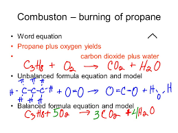5 combuston burning of propane word equation propane plus oxygen yields carbon dioxide plus water unbalanced formula equation and model balanced formula