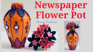 Paper Mache Flower Newspaper Flower Pot Paper Mache Flower Vase Using Shilpkar Clay