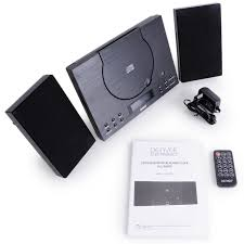 bluetooth cd player wall mountable compact stereo with radio aux in clock alarm
