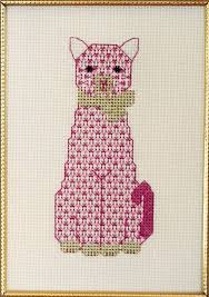 Cat Cross Stitch Patterns Simple The Pink Cat Cross Stitch Pattern PS48 intermediate wall hanging