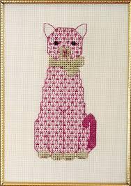 Cat Cross Stitch Patterns Simple The Pink Cat Cross Stitch Pattern PS48 Intermediate Wall Hanging