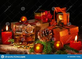 Glass Present Box Lights Cognac Or Whiskey In Glass Christmas Balls Gift Boxes And