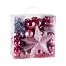 Weihnachtskugeln 77 Tlg Set Rosa Weihnachtsbaumschmuck Weihnachtsbaumkugeln Kunststoff Christbaumschmuck Christbaumkugeln