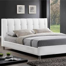 baxton studio vino transitional white faux leather upholstered queen size bed