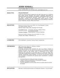 Resume Sample Career Objective Police Officer Resume Sample