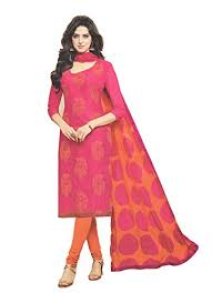 Avantika Special Chanderi Dress material Embroidered Orange In Pink  Combination