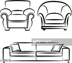 couch drawing. Vector Drawing On The Sofa Art Couch