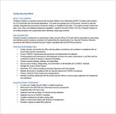Facility Security ficer Job Description Free PDF Template