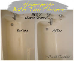 cleaning bathtub with vinegar and baking soda