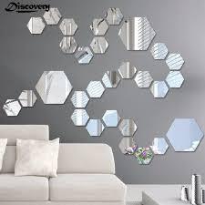 DIY 12PCS <b>Geometry</b> Hexagon Mirror Wall <b>Stickers</b> Home Decorat ...