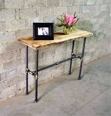 sofa hall table. Corvallis Industrial, Pipe Console Sofa Hall-table, Metal With Reclaimed Wood Finish Hall Table