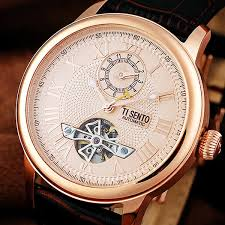 gold men watches ti sento round face leather strap dual time water gold watches men ti sento