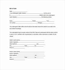 Vehicle Bill Of Sale Template Automotive Bill Sale Form