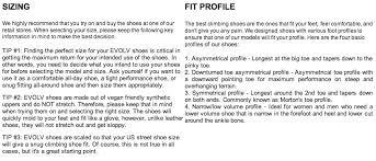 Evolv Shoe Size Chart Evolv Shaman Climbing Shoe