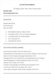 Sample High School Resume For College Admission Best of High School Resume For College Examples Example High School Student