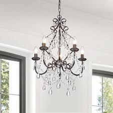 bethany 5 light iron and crystal candle chandelier