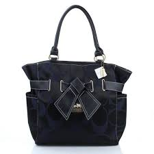 Coach Poppy Bowknot Monogram Medium Black Totes EUA