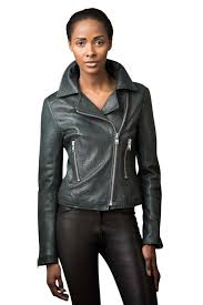 grained leather biker jacket