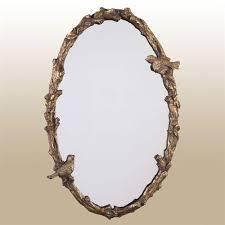 Elegant wall mirrors Small Elegant Birds Wall Mirror Antique Gold Touch Of Class Elegant Birds Oval Wall Mirror