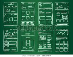 Green Layouts Hand Drawn Website Layouts On Green Stock Vector Royalty