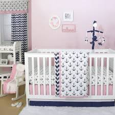 details about anchor nautical 3 piece baby crib bedding set in pink navy by the peanut shell