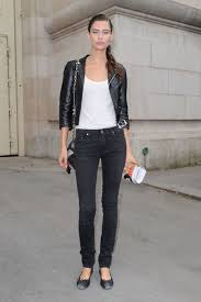 she combined her black cropped leather jacket with white skinny jeans white t shirt and heels