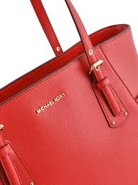 large leather tote bag voyager michael kors red voyager h7gv6t9l other view 1