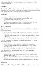 Resume Templates Vendor Relationship Manager Resume