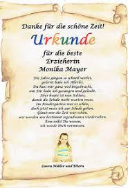 Urkunde Abschied Kindergarten Kita Erzieherin Geschenk Danke Sagen