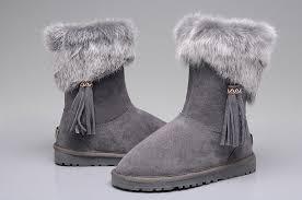 UGG 2894 Women Fox Fur Short Boots Gray
