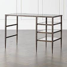 Glass top writing desk Study Clairemont Glass Top Desk Crate And Barrel Glass Top Desks Crate And Barrel