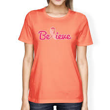 Believe Breast Cancer Womens Peach Cancer Support Tee Shirt Gifts